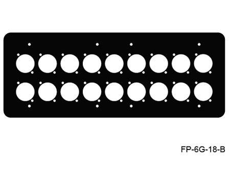 Mystery Electronics FP-6G-18-B 6-Gang Black Wall Panel for 18 Each Neutrik D