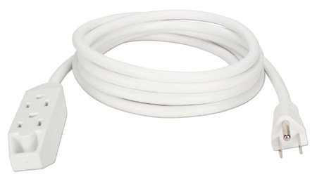 3-Outlet 3-Prong Power Extension Cord - 10 Foot