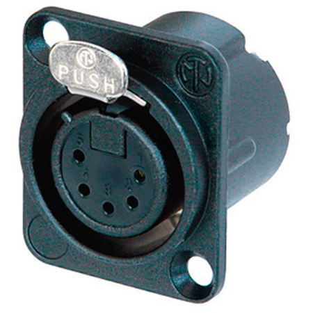 Neutrik NC5FD-LX-B 5 Pole Female Receptacle - Solder Cups Black & Gold