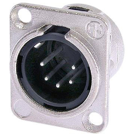 Neutrik NC5MD-L-1 Male 5-Pin Chassis Mount XLR - Nickel/Silver