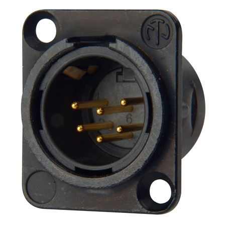 Neutrik NC6MSD-L-B-1 Receptacle DL1 Series 6S Pin Male - Solder Cups - Black/Gold