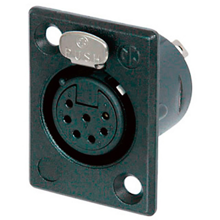Neutrik NC7FP-B-1 7 Pin Female XLR Panel Receptacle - Black/Gold