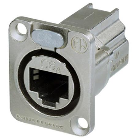 Neutrik NE8FDX-P6 D-Shape CAT6A Panel Connector - Shielded/ Feedthrough/ Nickel Housing