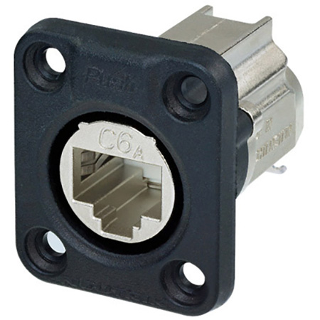 Neutrik NE8FDX-Y6-W D-shape CAT6A Panel Connector - Shielded/ IDC Termination/ Rubber Sealing/ IP65 When Mated/ Nickel
