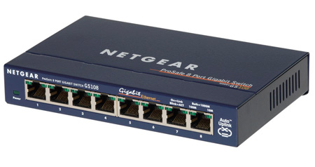 Netgear GS108 8-port Gigabit Ethernet Switch (10/100/1000 Mbps)