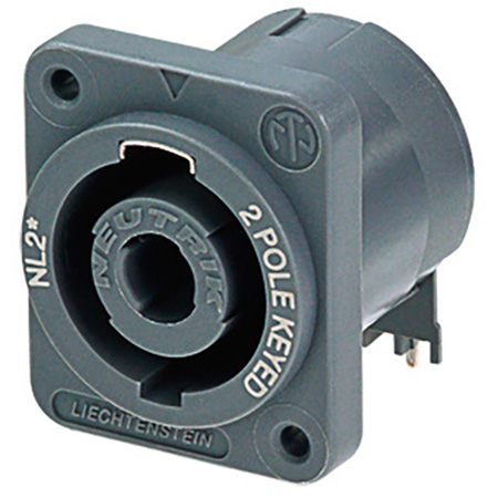 Male Speakon 2 pole receptacle-Horizontal PC mount.