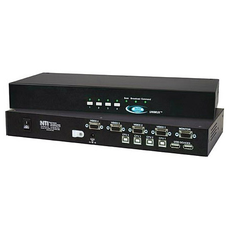 NTI UNIMUX-USBV-4O-A 4 Port USB KVM Switch