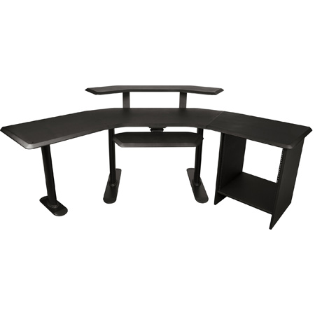 NUC-003 Nucleus Series - Studio Desk Base Model - 24 Inch Extensions 12 Space Rack 2nd Tier Keyboard Tray