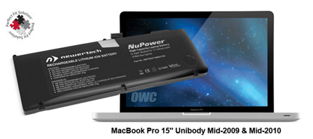 OWC NWTBAP15MBU78N NuPower 78W-Hour Li-ion Battery for MacBook Pro 15 Inch Unibody - Mid-2009 & Mid-2010 Models