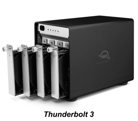 OWC OWCTB3SRKIT0GB ThunderBay 4 Four-Bay Drive Enclosure with Dual Thunderbolt 3 ports RAID-5 Ready with Cable