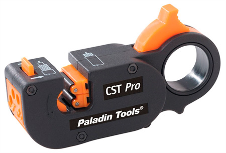 Greenlee PA1281 CST Pro 3-Level Coaxial Cable Stripper with Orange Cassette