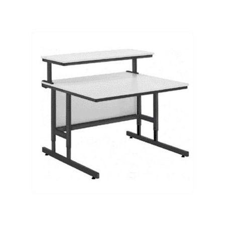 DaLite 90092 Adjustable Height 55in Wide Multimedia Workstation With 4in Casters