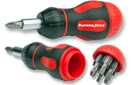 Platinum Tools 8-in-1 Ratcheted Stubby Screwdriver