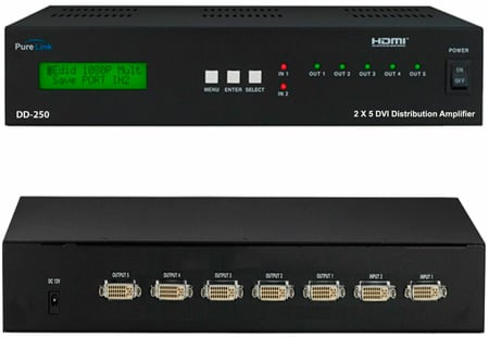 PureLink DD-250 (2) DVI Inputs to (5) DVI Output Distribution Amplifer