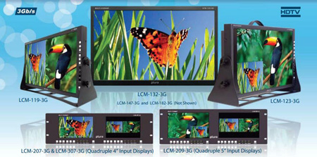 Plura LCM-307-3G Dual 7 Inch or Quad 4 Inch - Rackmount 3G General Use Monitor (1024 x 600)