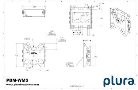Plura PBM-WMS Wall Mount for 17-Inch up to 24-Inch Monitors