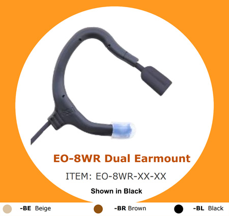 Point Source Audio EMBRACE Omni Dual Earmount Lav Waterproof Mic - Lemo-style 3-Pin Connector for Sennheiser SK - Brown