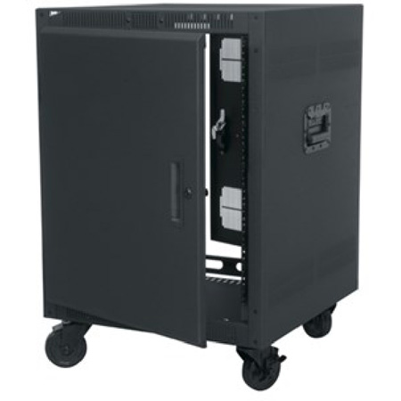 21 Space 26in Deep Rolling Rack with Plexi Front Door and Graphite Top