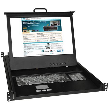 NTI RACKMUX-D17HR-N DVI USB plus PS/2 KVM Drawer w/ Numeric Keypad 17 Inch Hi-Res LCD Monitor Keyboard & Touchpad Mouse