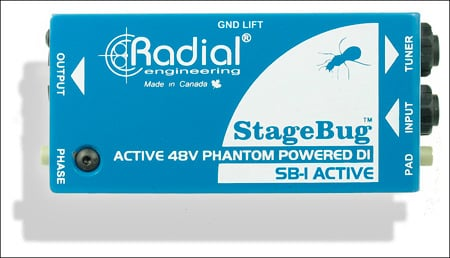 Radial SB-1 Compact Active DI For Acoustic Guitar & Bass 48V Phantom Powered