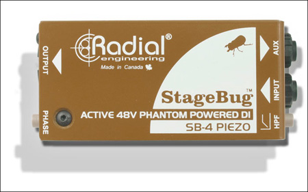 Radial SB-4 Compact Active DI For Piezo Pickups Low-Cut Filter 48V Phantom