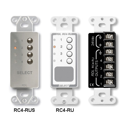 RDL RC4-RUS 4 Channel Remote Control for Rack-Ups - Stainless Steel