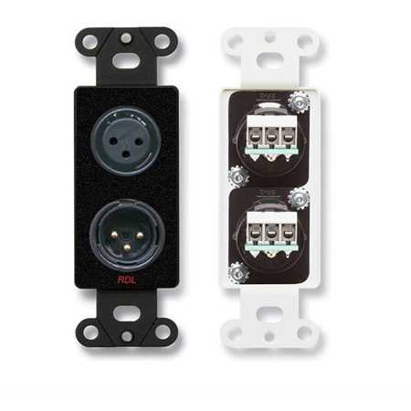 RDL DB-XLR2 XLR 3-pin Female & 3-pin Male on Decora Wall Plate - Solder type