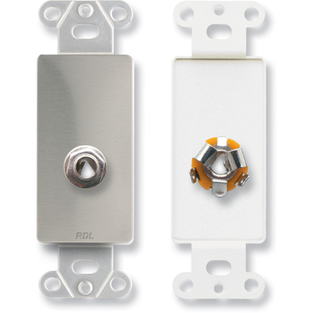 RDL DS-1/4F 1/4 Headphone Jack on Decora Wall Plate - Stainless steel