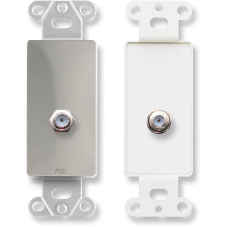 RDL DS-F Double Type F Jack on Decora Wall Plate - Stainless steel