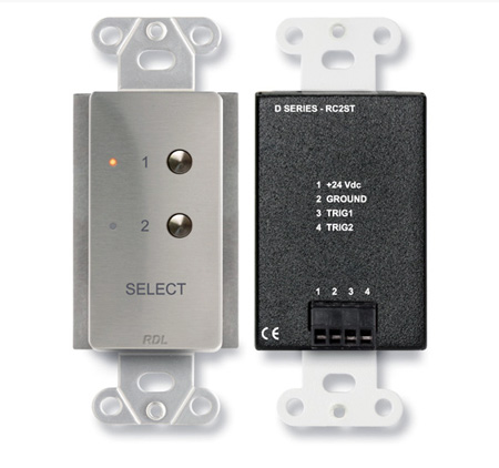 RDL DS-RC2ST 2 Channel Remote Control for STICK-ON - Remote selection of audio or video sources
