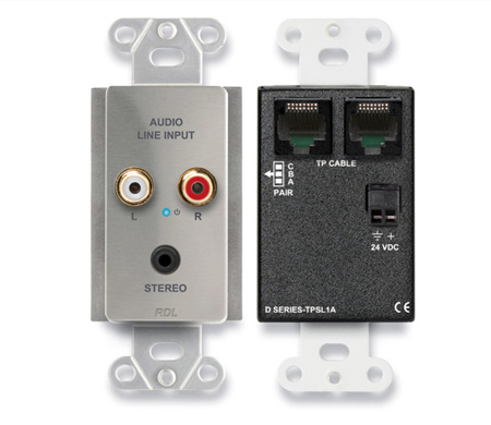 RDL DS-TPSL1A Active Single-Pair Sender - Twisted Pair Format-A - Mini-Jack & Stereo RCA In