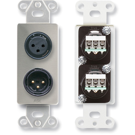 RDL DS-XLR2 XLR 3-pin Female & 3-pin Male on Decora Wall Plate - Solder type - Stainless steel