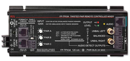RDL FP-TPX3A Format-A Twisted Pair Remote Controlled Mixer