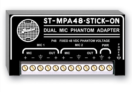 RDL ST-MPA48 Dual Microphone Phantom Adapter - 48 V