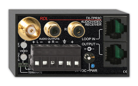RDL TX-TPR3C Active Three-Pair Receiver - Twisted Pair Format-C - Composite video & stereo audio