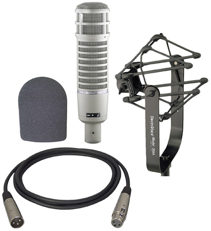 An Electrovoice RE20 with 309A Suspension Mount - Foam Windscreen and 15 foot XLR Male to Female Cable Kit
