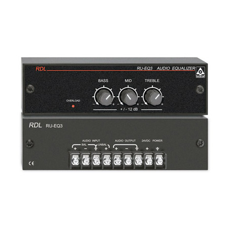 RDL RU-EQ3 Three Band Audio Equalizer with Knobs - Terminal Block