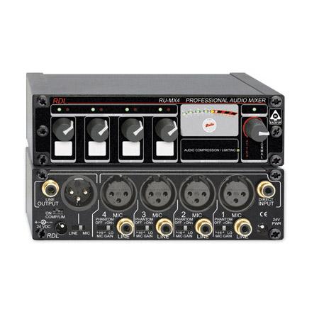 RDL RU-MX4 Pro 4 Ch Mic/Line Mixer w/Phantom Power Mic & Line Output