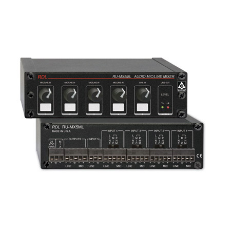 RDL RU-MX5ML 5 Channel Mic/Line Audio Mixer with Phantom Power