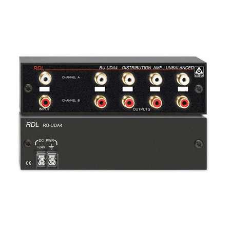 RDL RU-UDA4 Stereo Audio Distribution Amplifier - 2x4 - RCA Jacks