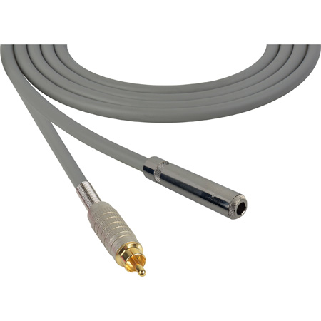 Canare Star-Quad Audio Cable 1/4-Inch TS Female to RCA Male 10 Foot - Gray