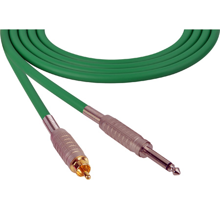 Canare Star-Quad Cable 1/4-Inch TS Male to RCA Male 10 Foot - Green