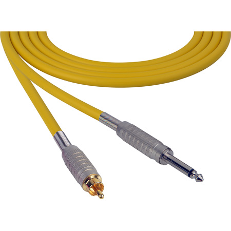 Canare Star-Quad Cable 1/4-Inch TS Male to RCA Male 10 Foot - Yellow