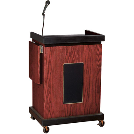 Oklahoma Sound Smart Cart Lectern with 25W Amplifier Medium Oak