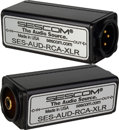 Sescom AUD-RCA-XLR Audio Converter 1-Channel RCA Unbalanced to XLR to Balanced