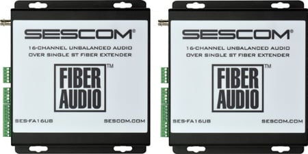 Sescom SES-FA16UB 16-Channel Unbalanced Audio Over a Single ST Fiber Extender with Phoenix Style Connectors