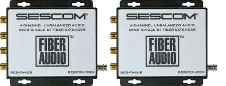 Sescom SES-FA4UB 4-Channel Unbalanced RCA Audio Over a Single ST Fiber Extender