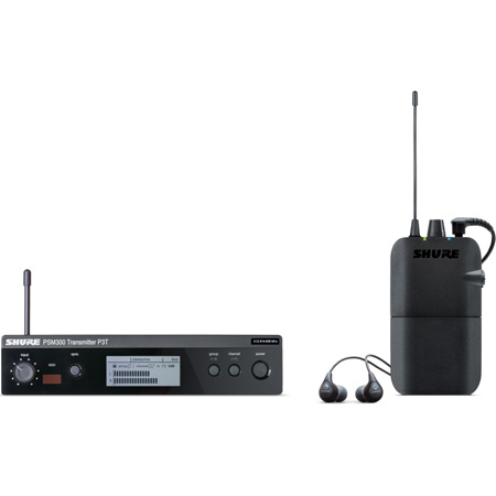 Shure PSM 300 Stereo Personal Monitor System with SE112-GR Earphones - J13 Band 566.17 - 589.85 MHz