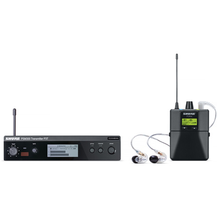 Shure PSM 300 Stereo Personal Monitor System with SE215-CL Earphones - H20 Band 518.200 - 541.800 MHz