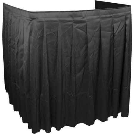 Black AV Cart Skirting 94W x 38H 3-Sided Shirred
